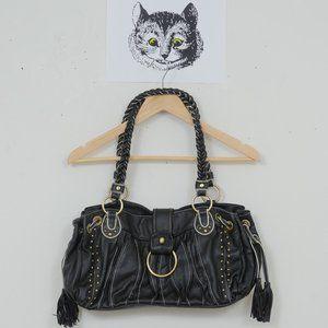 Melie Bianco Faux Leather Stud + Tassle Purse